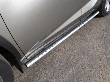 Lexus NX 200 2017-Пороги овальные с проступью 75х42 мм